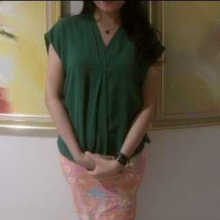 Green V-Neck Blouse