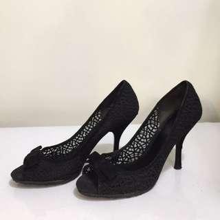 ENZO ANGIOLINI 黑色 鏤空 蕾絲 典雅 晚宴 蝴蝶結 高跟鞋