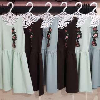 Girls Sleeveless Embroidered Dress (cmc0217)