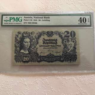 Austrian National Bank 20 Schilling PMG 40EPQ