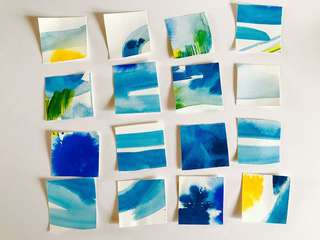 Card toppers watercolour inks blue green yellow