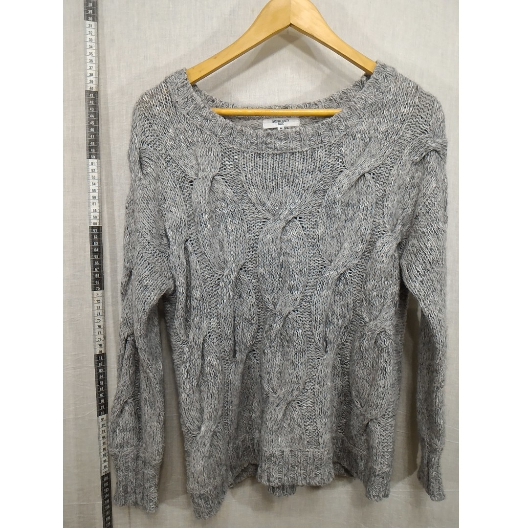 11118131-Natural Beauty Basic gray thick sweater灰色立體穗狀圖案厚毛衣