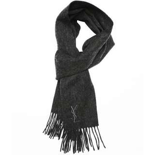 YSL YVES SAINT LAURENT 100% WOOL SCARF 頸巾 - CHARCOAL GREY