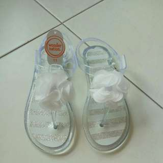 Girls White Flower Jelly Shoes