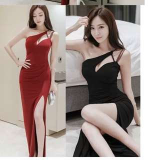 Cross toga red black evening gown dress