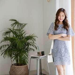 Pastel Coloured Floral Lace Designed Korean Style Dress