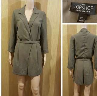 Topshop Olive green classy romper (nice material) s-m