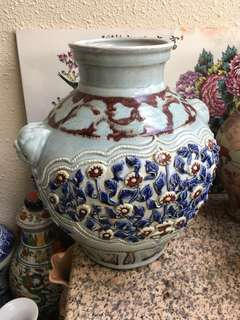 Yuan dynasty cobalt red n blue sculptured flowers porcelain jar. Dimension 39cm High x 33cm Wide . 元青花釉裏紅貼塑罐。到元代古瓷。特別價200 万元可以商議。此罐制作規正绘圖精良,乲器精品.if u are interested offer to .