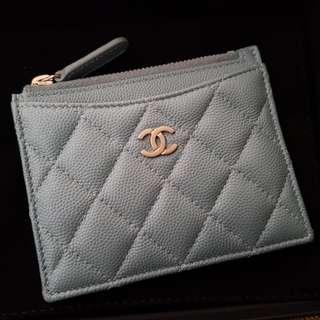 Chanel Card Holder Iridescent Blue 18C