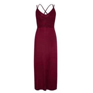 Wine coloured maxi dress