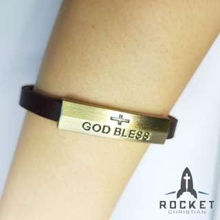 """GOD BLESS"" Leather Bracelet"