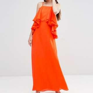 Ruffle Waterfall Soft Maxi Dress - Size US 8
