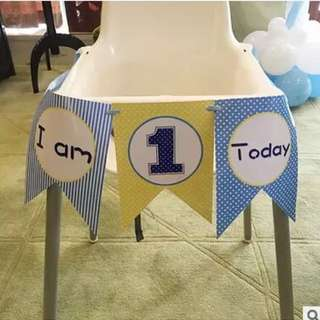 🌈 Baby full month / baby shower / first birthday party banner bunting deco