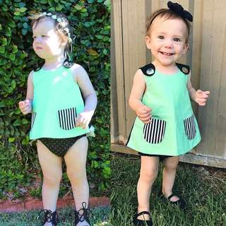 🦁Instock - mint casual tunic, baby infant toddler girl children sweet kid happy