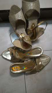 Sepatu kondangan heels gold+ heels kotak size 39