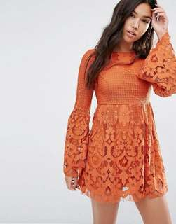 Boohoo orange lace skater dress with bell sleeves
