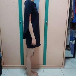 Dark Blue Cape Dress