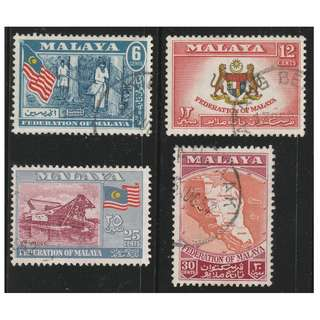 MALAYAN FEDERATION 1957 General Issue set of 4V used SG #1-4 (A)