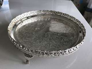 Queen Anne Silver Plated Round Tray