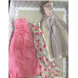 figures' dress for barbie type   $10 for all