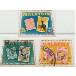 MALAYSIA 1967 Stamp Centenary set of 3V used SG #48-50 (0231)