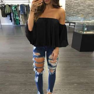 PO: Butterfly Sleeve Off Shoulder Top