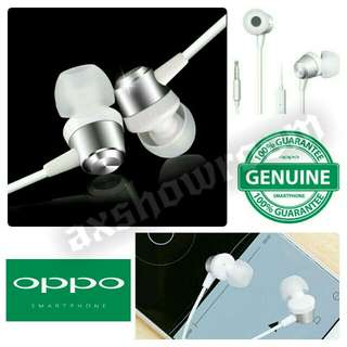 Original OPPO MH130 Stereo Earphone   Metal Exterior Appearance With Bass Chamber Small and Exquisite Design For Handy & Lightweight Handling  In-ear Design For Excellent Sound Isolation