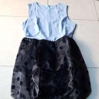 Blue and polkadot Dress