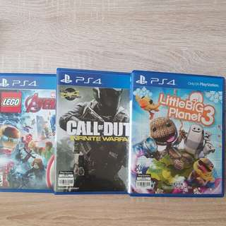 PS4 Games (Call of Duty, Little Big Planet 3, Lego Marvel Avengers)