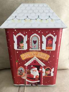Christmas Santa Claus Metal Box with Lights