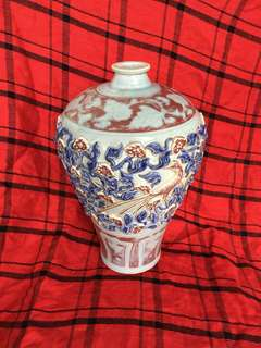 Yuen dynasty vase with sculptured flowers 36cm high . Authentic n genuine Yuen vase. Asking price 80000. Neg