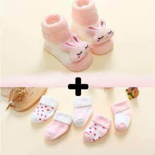 Baby Socks Set - Pink Rabbit Collection 1802