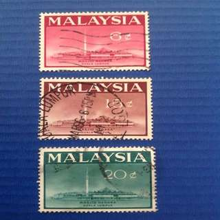 Malaysia 1965 Opening of National Mosque , KL 3V Set Used SG15-17. (0205)