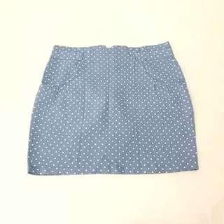 Polka Denim Skirt