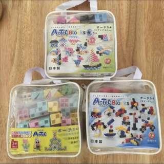 3 x Artec Building Blocks (54 pieces each) Made in Japan