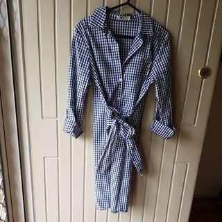 Front tie shirt dress