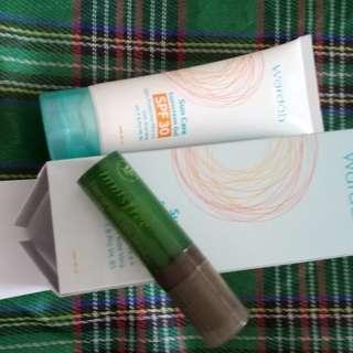 Innisfree greentea serum dan sunscreen wardah