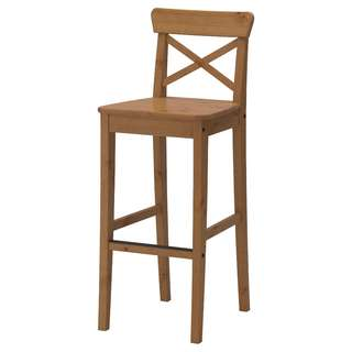 IKEA Bar stool with backrest, antique stain (INGOLF)