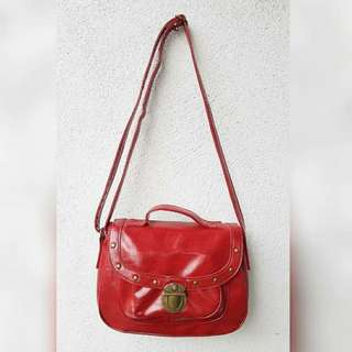 RED GENUINE LEATHER SLING BAG