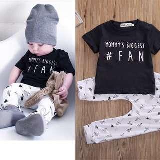 🦁Instock - 2pc mommy biggest fan set, baby infant toddler girl children sweet kid happy