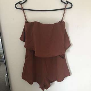 Brown Strapless Playsuit