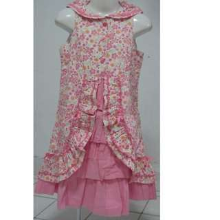 FREE SHIPPING PINK FLORAL SLEEVELESS DRESS FOR LITTLE GIRLS AGE 4 TO 6 YEARS OLD