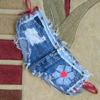 Washed Hot pants denim