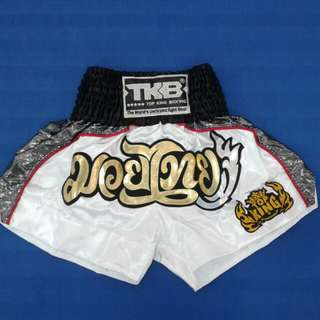TOP KING Shorts Premium Series (White/Shiny Grey/Red)