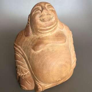 12cm wood Laughing Buddha