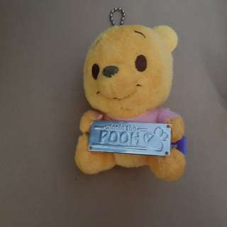 Winnie the pooh keychain , with sign, with pink shirt