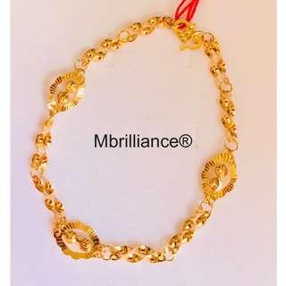 Fancy laser beads bracelet 916 gold