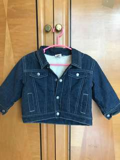 Baby Gap denim and fleece lined winter jacket for boy 6-12 months