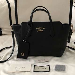 Authentic Gucci Swing Small Leather Tote Bag