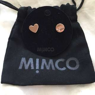 Mimco Take Two Rose Gold Heart Stud